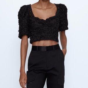Zara black puff sleeve crop top